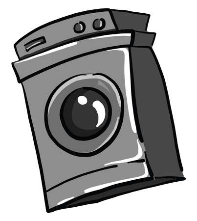 Washing machine, illustration, vector on white background