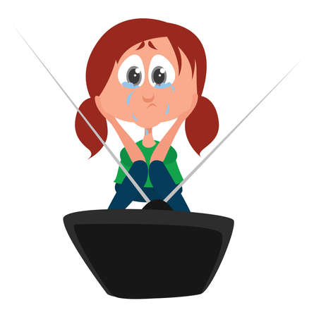 Girl watching melodrama, illustration, vector on white background