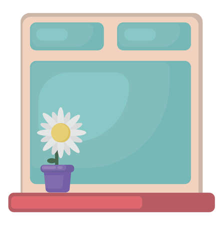 Window with flower, illustration, vector on white background