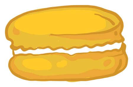 Yellow macaroon, illustration, vector on white background