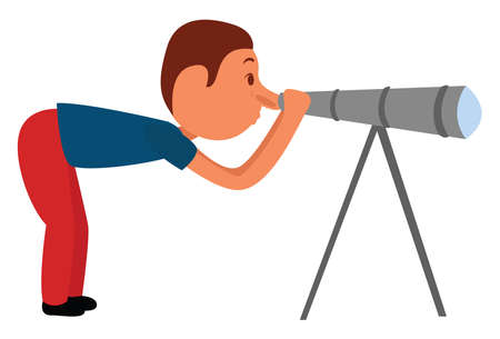 Man looking from the telescope, illustration, vector on white background Stock fotó - 152573426