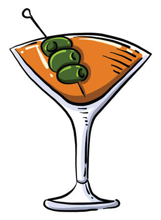 Cocktail with olives, illustration, vector on white background