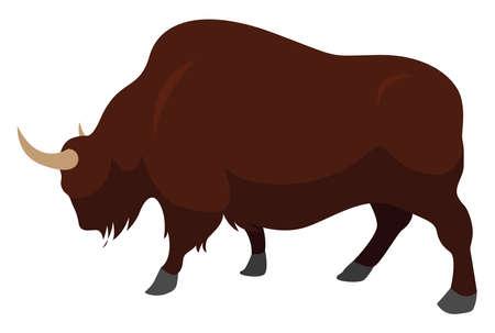 American Bison, illustration, vector on white background Ilustración de vector