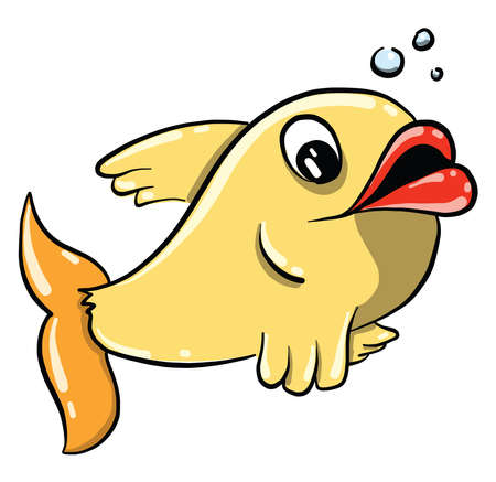 Yelow fish with big lips, illustration, vector on white background