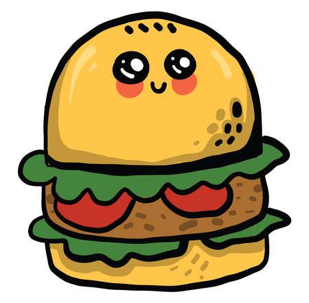 Cute eyed burger, illustration, vector on white background