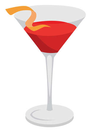 Cosmopolitan red coctail, illustration, vector on white background