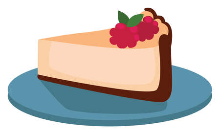 Cheesecake on plate, illustration, vector on white background 일러스트