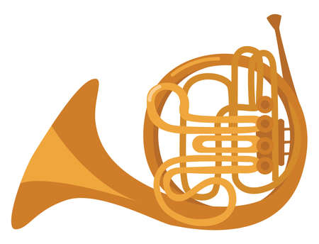French horn instrument, illustration, vector on white background