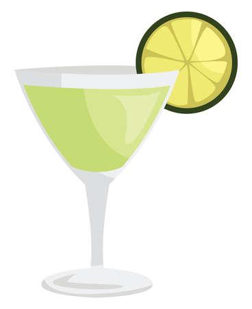 Gimlet cocktail, illustration, vector on white background Illustration