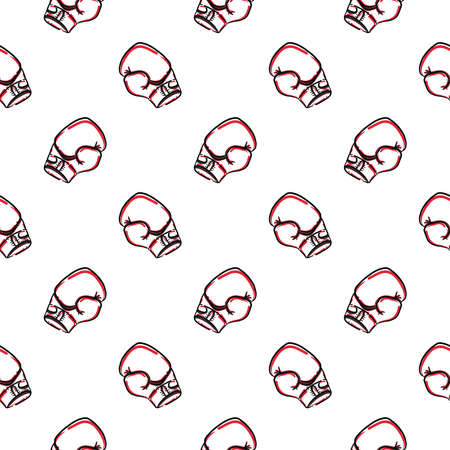 Boxing gloves ,seamless pattern on white background.
