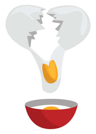 Broken egg, illustration, vector on white background Stock Illustratie
