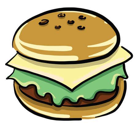 Tasty burger, illustration, vector on white background