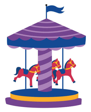 Carousel with horses, illustration, vector on white background