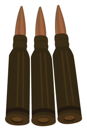 Metal bullets, illustration, vector on white background