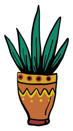 Green plant in an interesting pot, illustration, vector on white background Stock fotó - 152581089