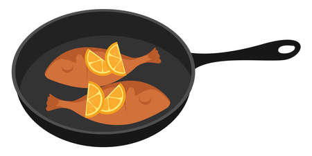 Two fish in a pan, illustration, vector on white background