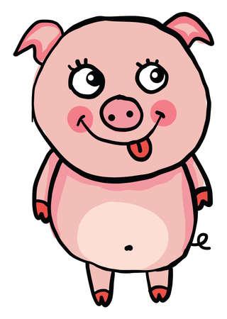 Happy little pig, illustration, vector on white background