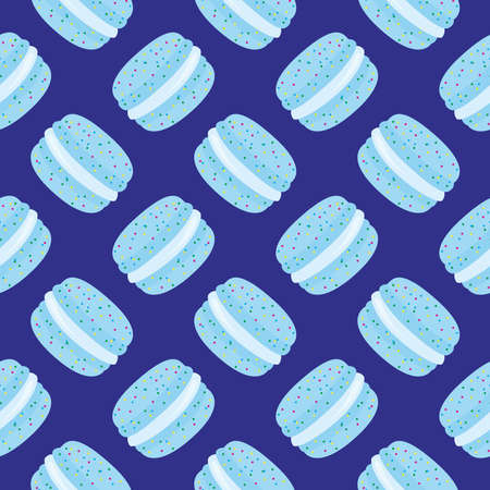 Light blue macaron ,seamless pattern on blue background.
