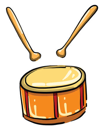 Drum with sticks, illustration, vector on white background