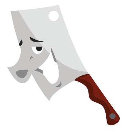 Butcher knife, illustration, vector on white background Çizim