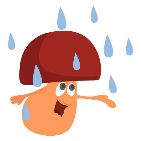 Mushroom on rain, illustration, vector on white background