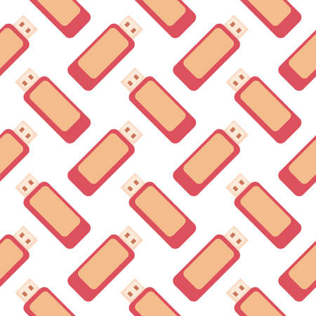 Flash drive, seamless pattern on white background.