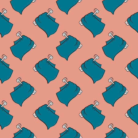 Blue towel ,seamless pattern on white background.