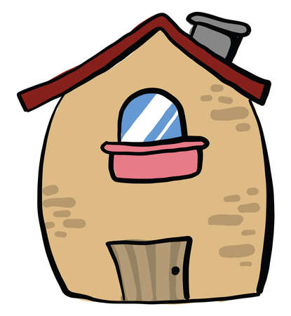 Fat house, illustration, vector on white background