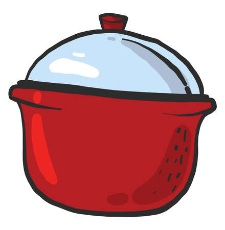 Red saucepan, illustration, vector on white background