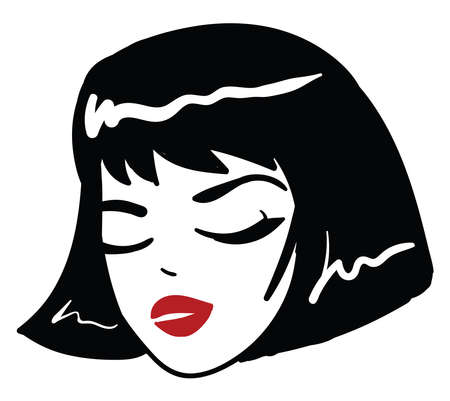 Girl with closed eyes, illustration, vector on white background