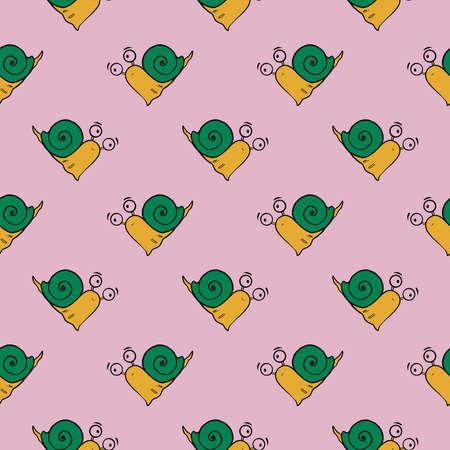 Green snail ,seamless pattern on light pink background.