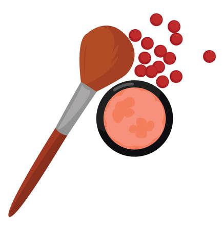 Face blush make up, illustration, vector on white background