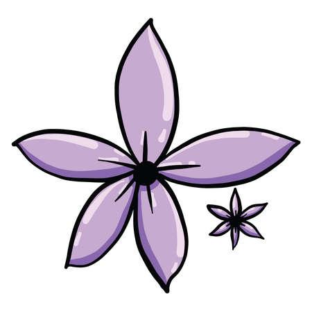 Purple flower, illustration, vector on white background