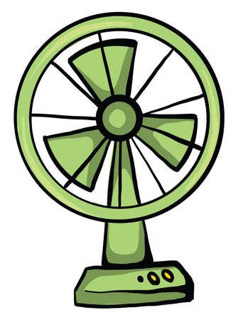 Green fan, illustration, vector on white background Vettoriali