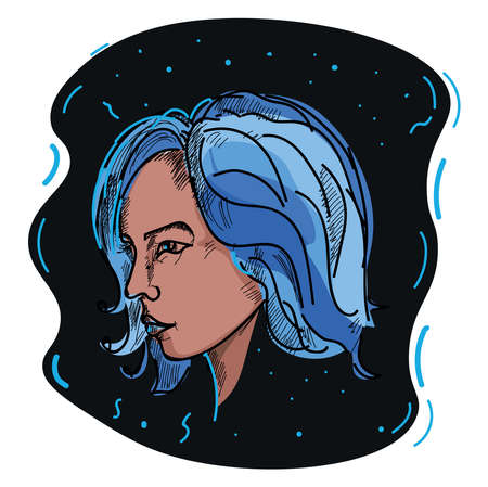 Girl with blue hair, illustration, vector on white background