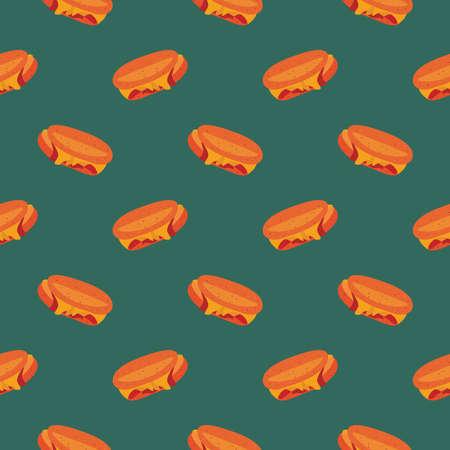 Ham and cheese ,seamless pattern on dark green background.