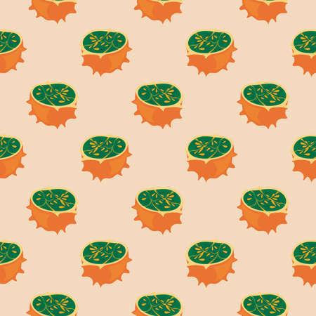 Horned melon ,seamless pattern on beige background.