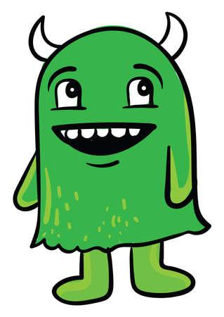Green monster, illustration, vector on white background
