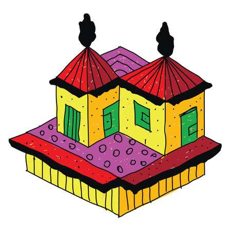 Palace house, illustration, vector on white background