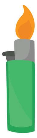 Green lighter, illustration, vector on white background