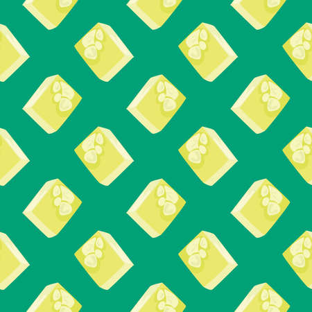 Tasty lokhum ,seamless pattern on green background.