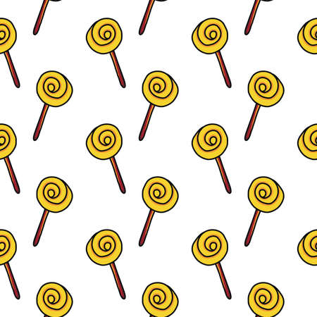 Yellow lollipop ,seamless pattern on white background.