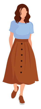 Woman with long skirt, illustration, vector on white background