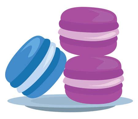 Sweet macarons, illustration, vector on white background