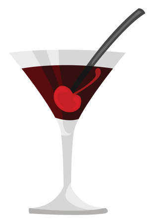 Manhattan cocktail, illustration, vector on white background 向量圖像