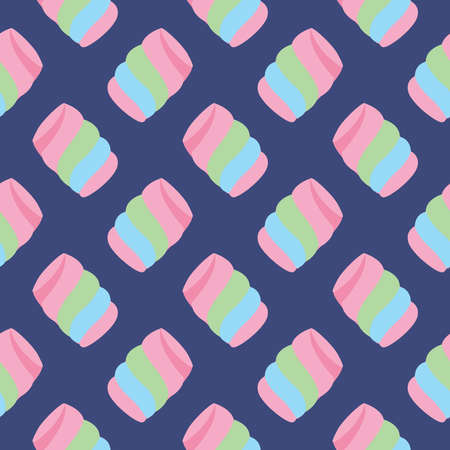 Colorful marsmallow ,seamless pattern on blue background.
