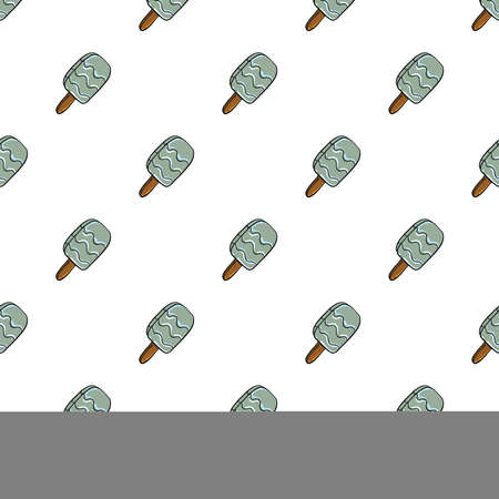 Minimalist cute grey ice cream ,seamless pattern on white background.