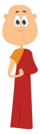 Monk in red, illustration, vector on white background
