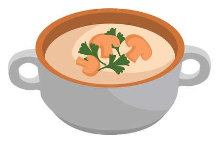 Mushroom soup, illustration, vector on white background