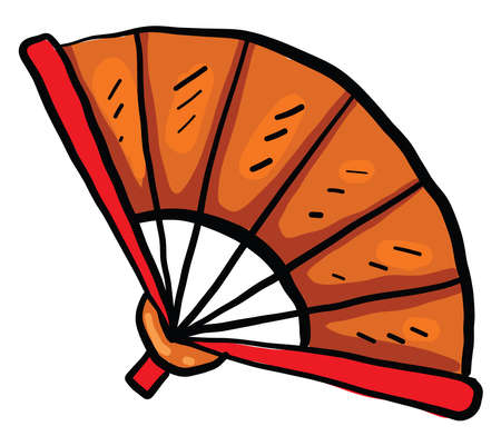 Orange fan, illustration, vector on white background Stock Illustratie